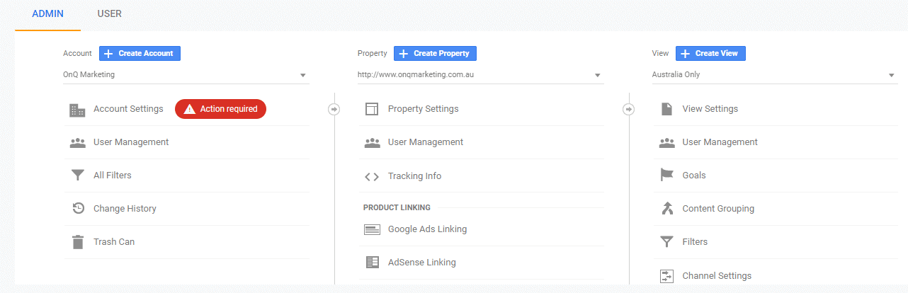 Google Analytics account, property and view